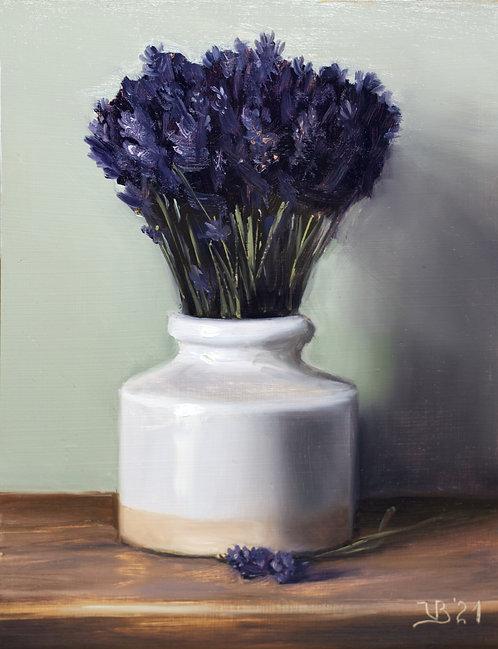 Lavender in a White Vase