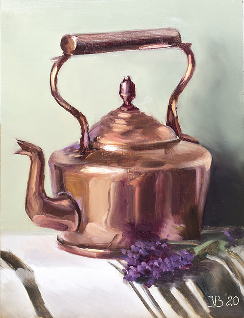 Copper Tea Kettle and Lavender