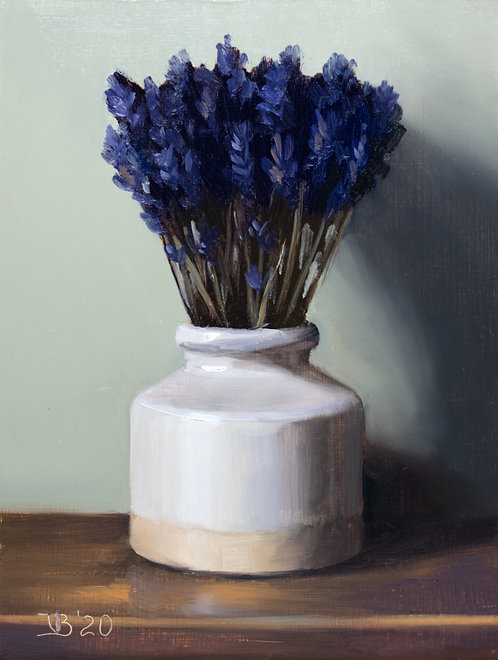 White Vase and Lavender