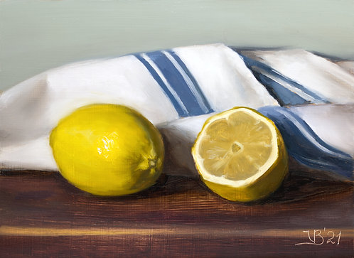 Lemons and Blue French Towel