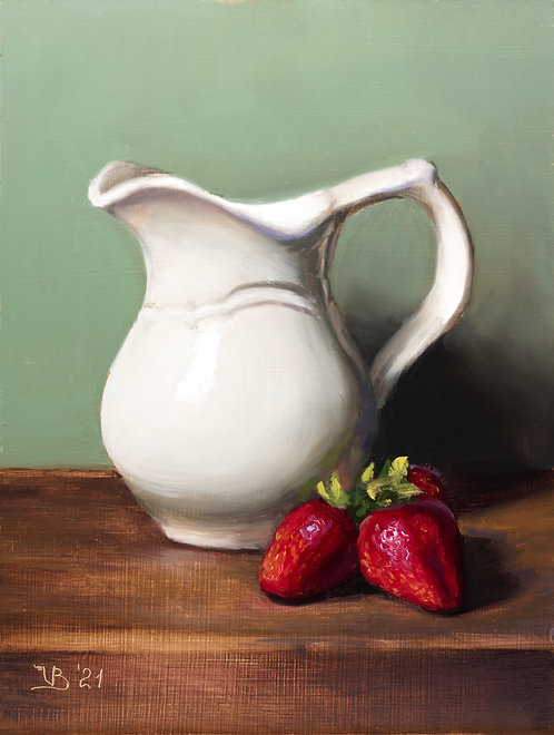 Milk Jug and Strawberries