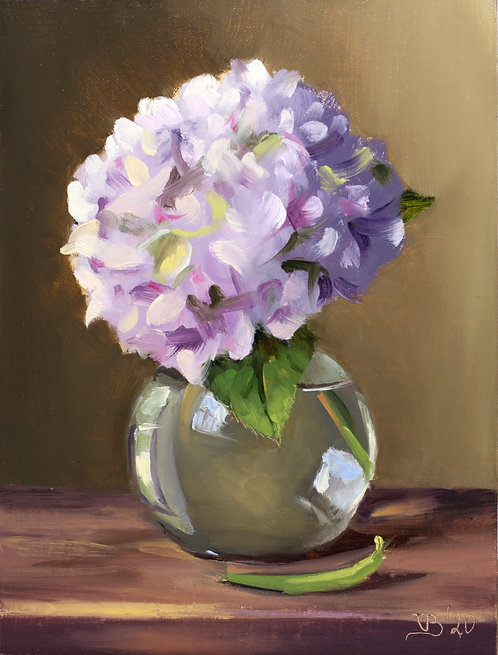 Hydrangea in a Glass Vase