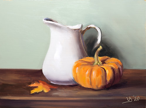 White Pitcher and Pumpkin