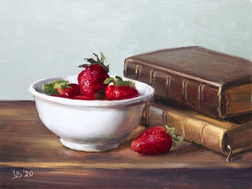 Strawberries in a White Bowl
