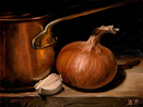 Copper Pot With Garlic And Onion
