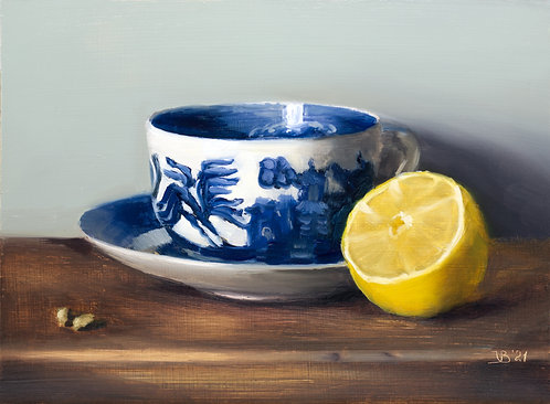 Blue Willow Cup and Lemon