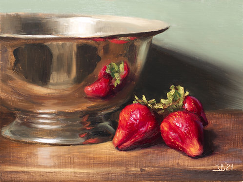 Season's Strawberries and a Silver Bowl