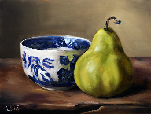 Pear and a Blue Willow Cup