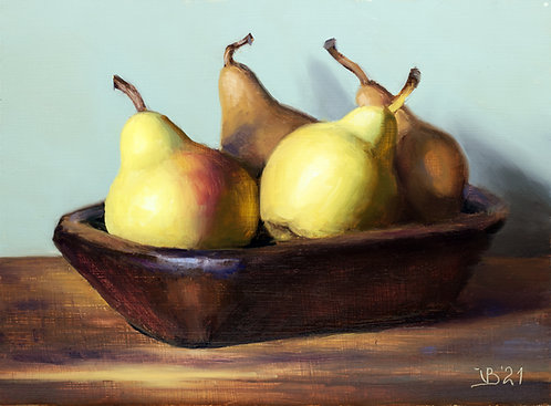 Wooden Bowl and Pears