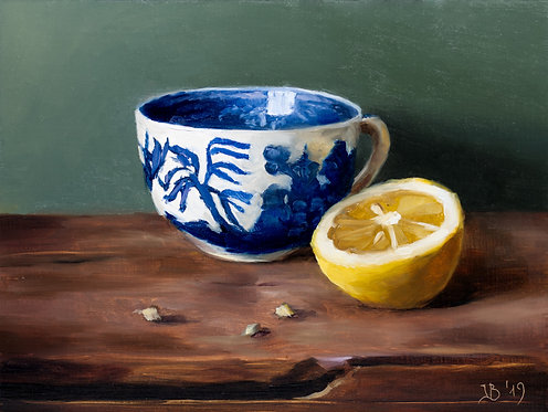 Blue Willow and Lemon on Green
