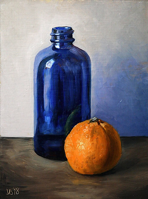 Blue Bottle And A Clementine