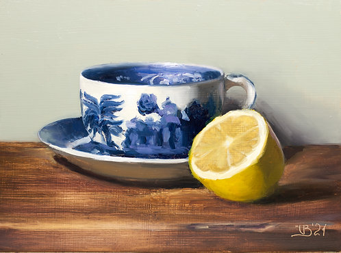 Blue Willow Tea Cup and Lemon