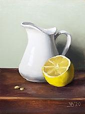 White Pitcher and Lemon