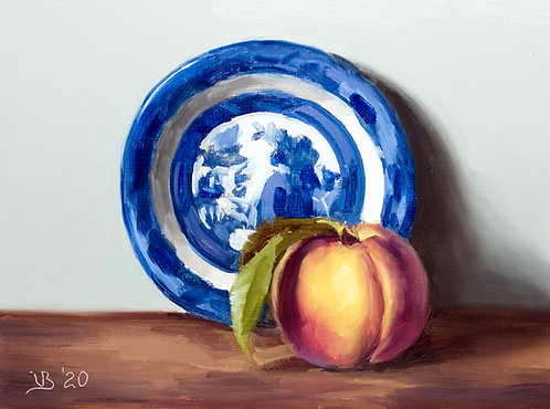 Blue Willow Saucer and Peach