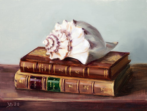 Antique Books and a Seashell