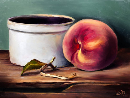 Peach and a Ceramic Crock