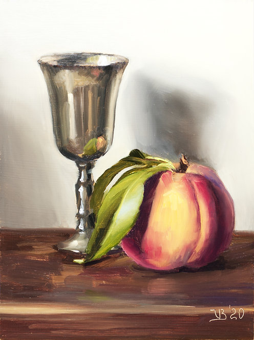 Peach and Silver Goblet