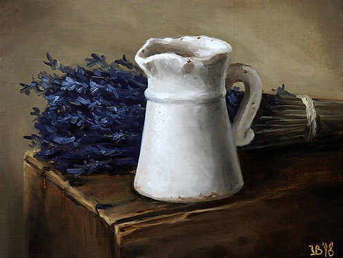 White Jar With Lavender