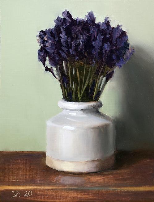 White Vase with Lavender