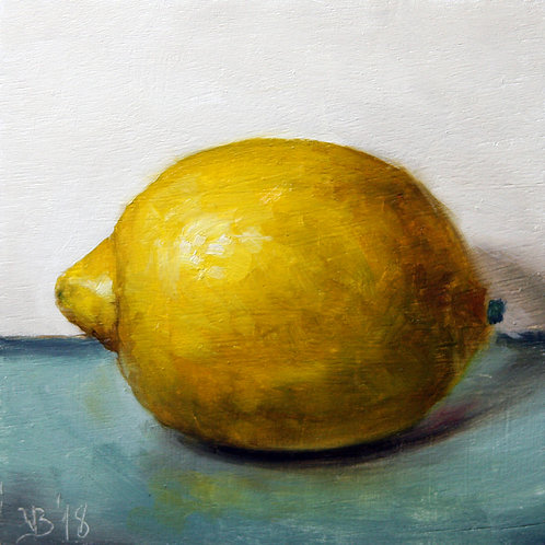 "A Lemon on Blue (4x4"")"