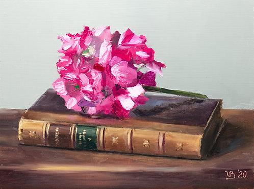 Antique Book and Geranium