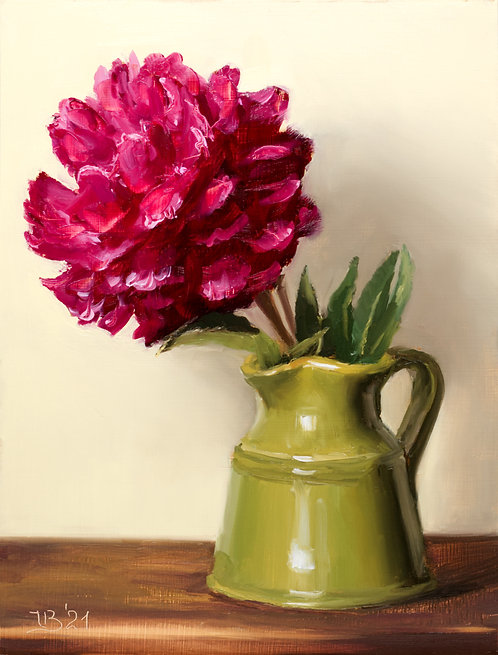Red Peony in a Green Vase