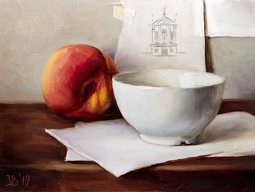 White Bowl, Peach and Tracing Paper