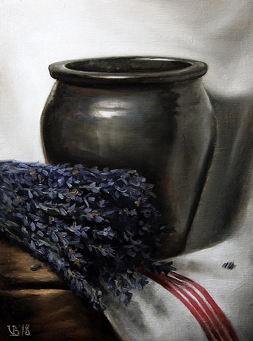 Crock And Lavender, oil painting, front view
