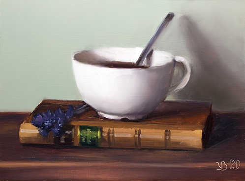 Antique Book, Coffee and Lavender