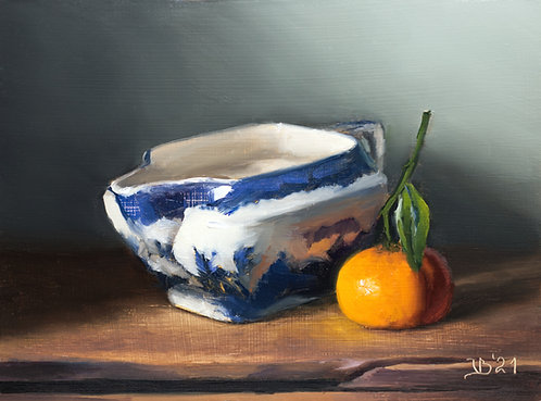 Blue Willow Pitcher and Clementine