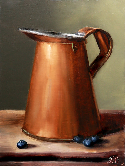 Copper Jug and Blueberries