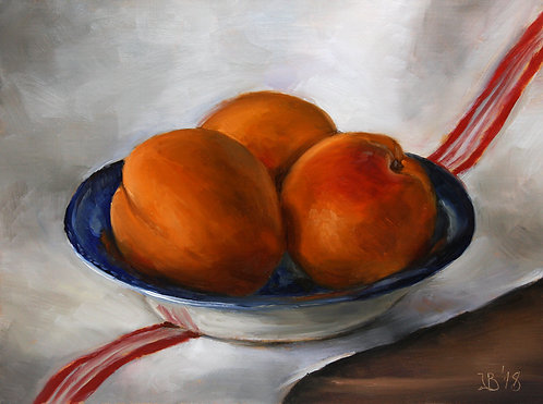 Apricots In a Blue Bowl