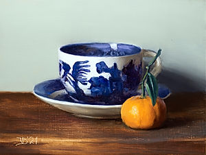 Blue Willow Cup and Clementine