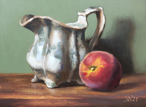 Antique Pitcher and a Peach