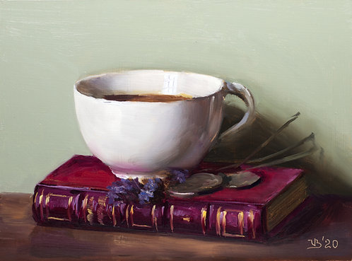 Antique Book, Cup and Lavender