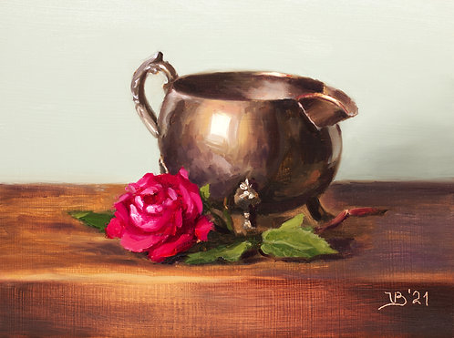 Red Rose and a Silver Creamer