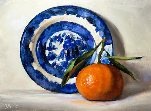 Blue Willow Saucer and Mandarin