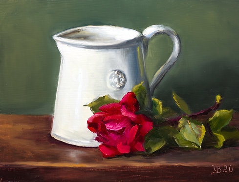 Alix D. Reynis Pitcher and a Rose