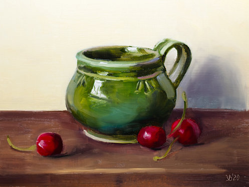Glazed Pottery with Cherries