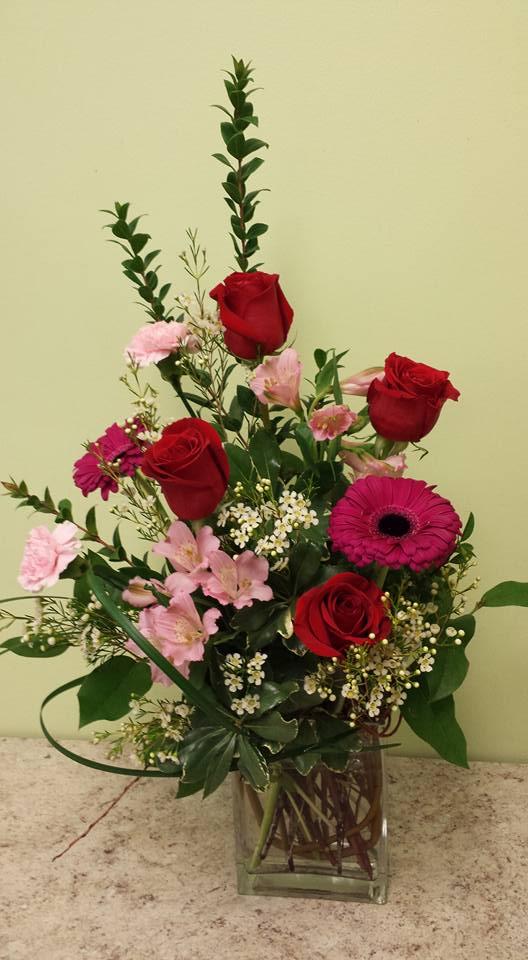 gerbera and roses arrangement