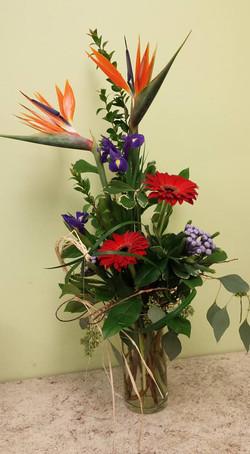 birds gerbera and iris arrangement