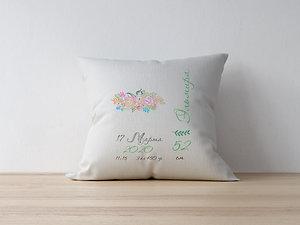 Подушка вышитая – Цветы розовые