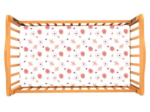 Детская простынь на резинке – Цветы розовые