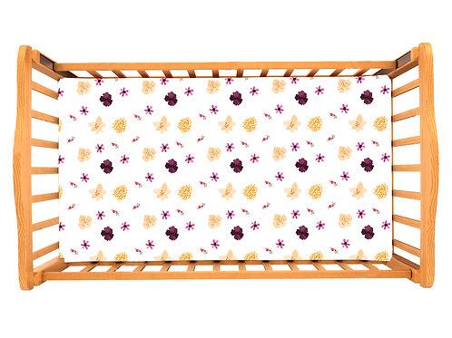 Детская простынь на резинке – Цветы бордовые