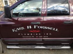 Engine Turned silver vinyl truck lettering