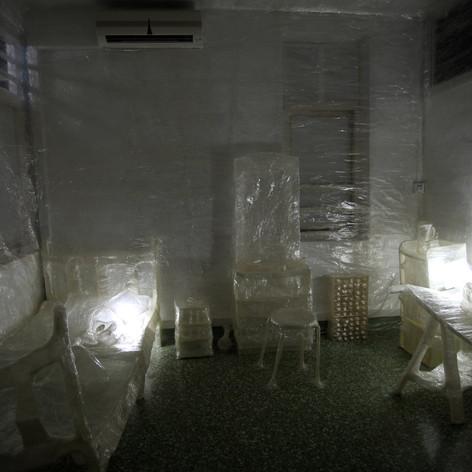 Jying Tan, Heimlich, cellophane, site-specific installation