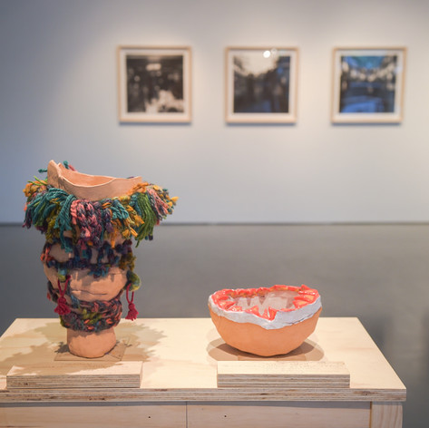 Installation view: anGie Seah, Day and Night Rituals, sound works in clay objects; Sufian Samsiyar, Retrospectare Santa Cruz, photographic prints. The Art Incubator 6: Residency as method, Institute of Contemporary Arts Singapore, 2015.