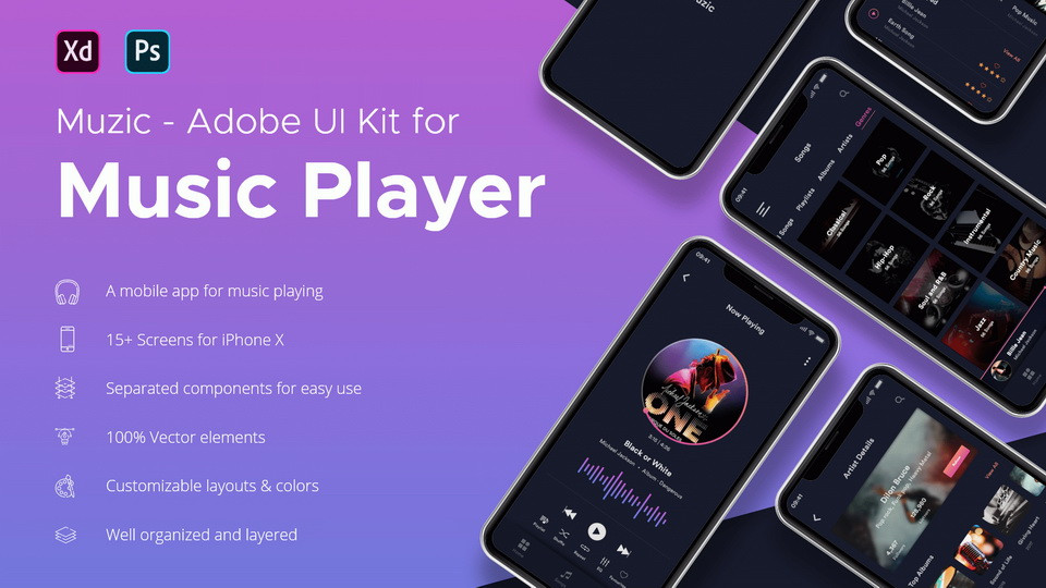Be sure to download this stunning music app ui kit with 15+ screens and vibrant color set