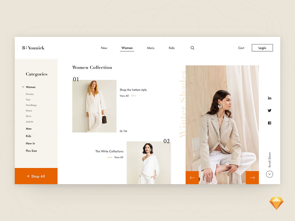 Great visual approach for fashion ecommerce store with user support and stunning graphics