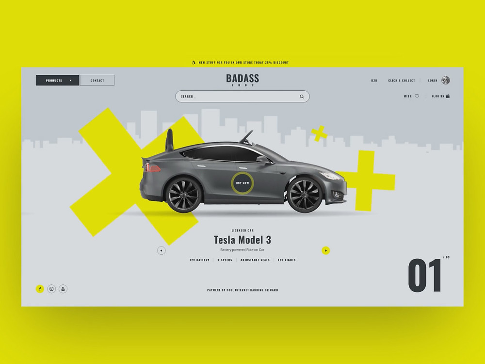 Grab this badass car online shop template with these perfect animations